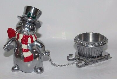 Lenox Christmas Snowman with Sleigh Pewter Votive
