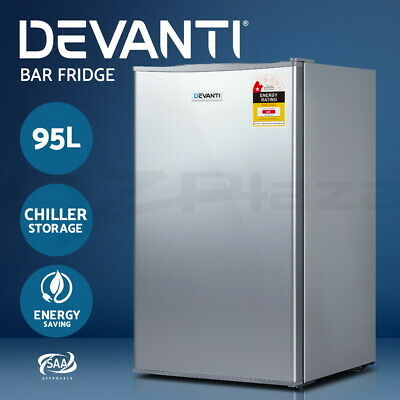 Devanti 95L Portable Bar Fridge Refrigerator Cooler Freezer Office Home Silver