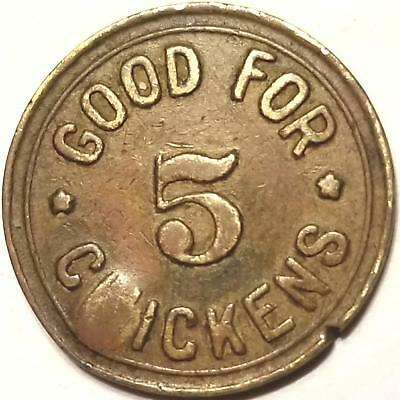 Trade Token GOOD FOR 5 CHICKENS from M.S CREAMERIES INC Dairy Farm Mississippi ?