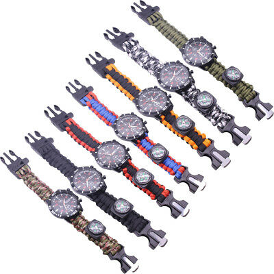 Outdoor Survival Watch Bracelet with Compass Flint Fire Starter Paracord Whistle