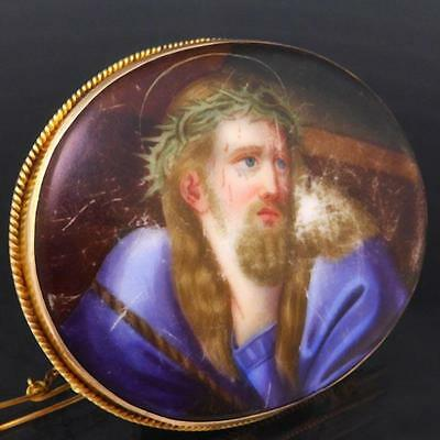 V Lge Antique Hand Painted 'Passion of Jesus Christ' 9k Solid Yellow GOLD BROOCH