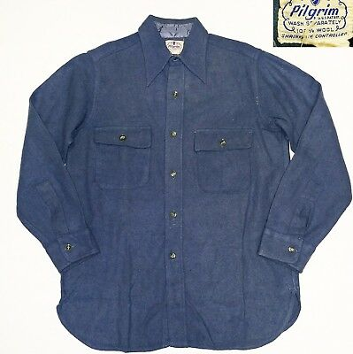 40s 50s Pilgrim Wool Work Wear Shirt Vintage Vtg USA Made