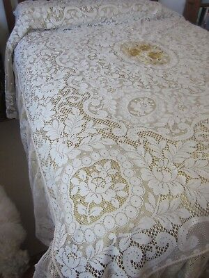 VESTOR Italy ITALIAN CREAM LACE Queen size BED SPREAD - COVER, gold satin lining