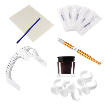 Microblading Permanent Makeup Tattoo Eyebrow Needles Pen Pigment Ink Cup Set Kit