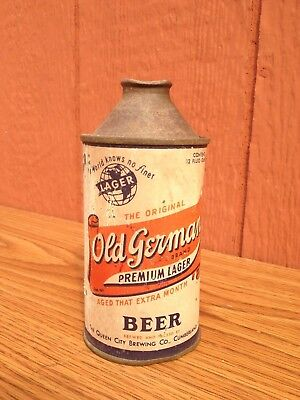 Old German Premium Lager Cone Top Beer Can Metal Queen City Brewing Maryland USA