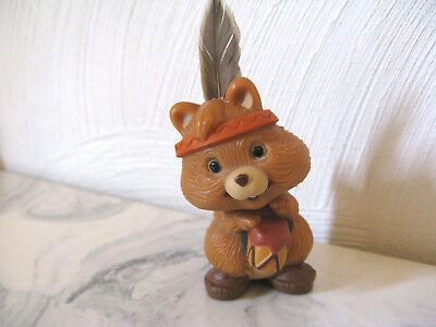 1981 Hallmark Thanksgiving Fall Indian Squirrel with Drum Merry Miniature Figure