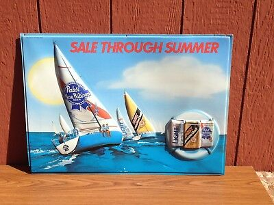 Vintage PABST Sale through Summer Beer Sign Sailboat Light Draft Bar Tavern Rare