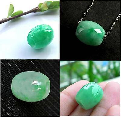 Natural Green Jade Carved Chinese Lucky Barrel Bead +  Necklace