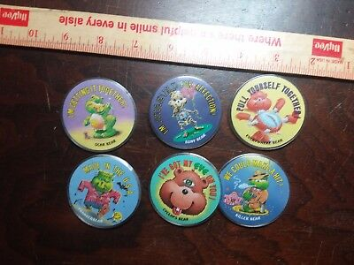 Lot of 6 Gross Bear Button Badges, 1985 Topps Gum Bony Killer Scar Cyclops 2""