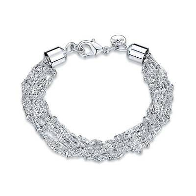 Fashion 925Sterling Solid Silver Jewelry Multi Chain Bracelet For Women H503