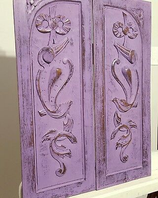 SHABBY LAVENDER CARVED WOOD PANEL MATCHED PAIR ANTIQUE FRENCH BOW CARVING 19th