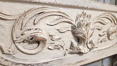 SHABBY HAND CARVED WOOD PANEL  ANTIQUE FRENCH ARCHITECTURAL SALVAGE CARVING 19th
