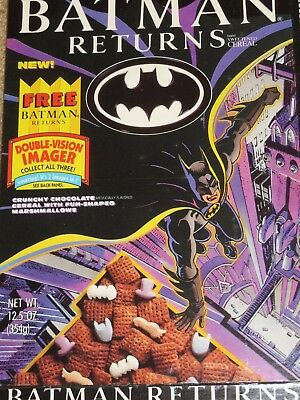 VINTAGE CEREAL BOX 1992 New BATMAN RETURNS Double-Vision Imager Nice Graphics