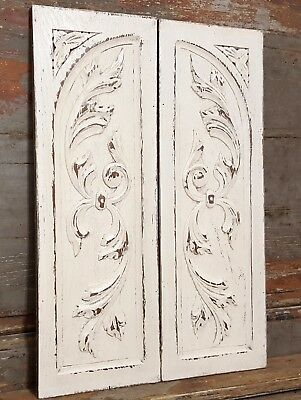 SHABBY CARVED WOOD PANEL MATCHED PAIR ANTIQUE FRENCH BOW ROCOCO CARVING 19th