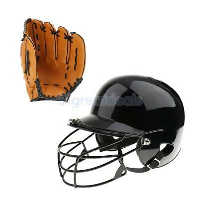 Pro Baseball Batting Helmet with Metal Face Guard + Baseball Glove 10.5inch