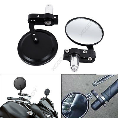 """Round Motorcycle Bar End Mirrors Rearview Side 7/8"""" Motorbike Universal 1 Pair"""