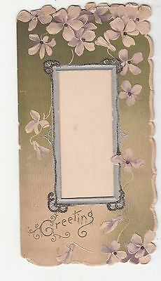 Greeting White Flowers Open Frame Embossed  Folding Vict Card c 1880s