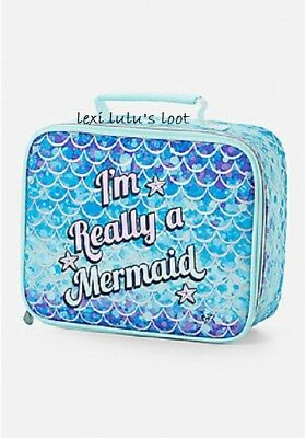 Justice 'I'M REALLY A MERMAID'  2-Sided Lunch Tote Lunch Box NWT