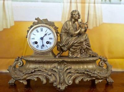 Antique 19th c French gilt figural Lyre player 8 day bell striking mantle clock