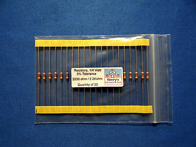Resistors, carbon film, 1/4 watt, 5%, axial leaded,2200 Ohm (2.2k)  - QTY of 20