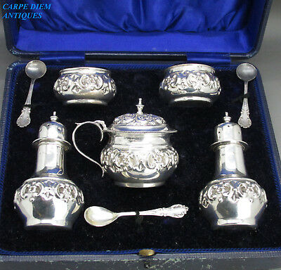 Antique Cased Wonderfully Embossed 7Ps Solid Silver Cruet Set, J.g, Birm 1904