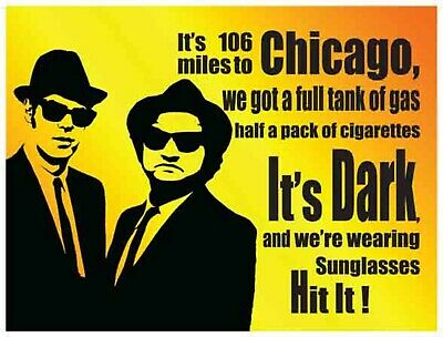 BLUES BROTHERS CHICAGO Blechschild Stabil Flach Neu aus GB 30x40cm S2339