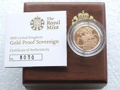 2008 Royal Mint British St George Dragon Gold Proof Full Sovereign Coin Box Coa