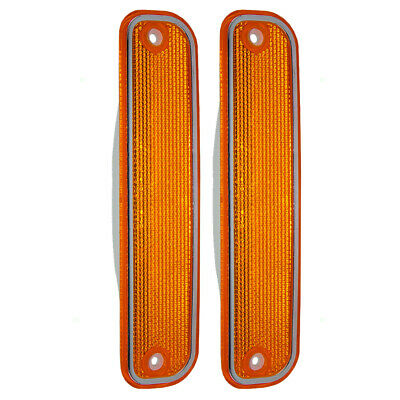 New Pair Front Side Marker Light Chrome Trim 73-80 Chevy SUV GMC Pickup Truck