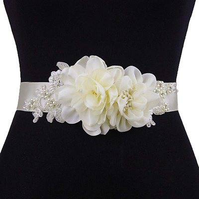 Azaleas Floral Sash Flower Pearl Beaded Bridal Sash Belts Wedding Dress  Ivory