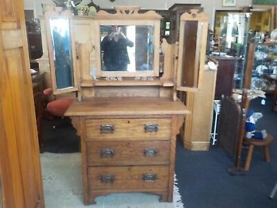 Antique Arts & Crafts Oak Dressing Table Mirrors & 3 Drawers