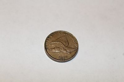 1857 Flying Eagle Cent - Very High Grade, Near Au Details