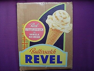Vintage Advertising 1941 Revel Butterscotch Ice Cream Soda Fountain Die Cut Sign
