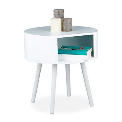 Relaxdays - Table d'appoint bois ronde [10020608] [Blanc] [46x46x47 cm] NEUF