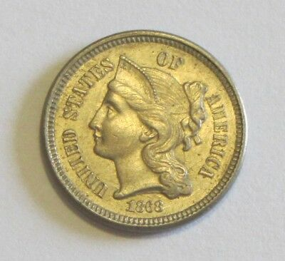 1868 3 Cent Piece Uncirculated Bu Awesome Coin