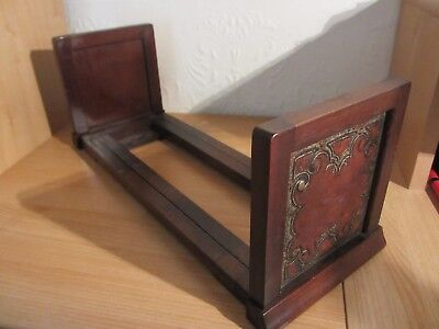 Antique Book Slide. Mahogany With Leather Rests. Overall 29 Inches Long.