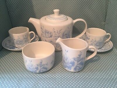 Vintage Wade pottery blue chintz tea set for 2.Teapot, cup, saucer, milk, sugar.