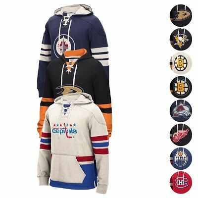 "CCM Retro ""Lace Em Up"" Premium Pullover NHL Team Applique Throwback Hoodie Men's"
