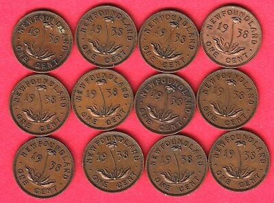 1938 Newfoundland Small Cents ~ Dealer Lot Of 12 ~ VG/F Condition