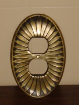 Vtg Ornate Brass/gold Metal Oval Sunflower Outlet Cover Plate Used