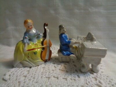 Made In Occupied Japan Vtg Vic Porcelain Figurine Piano & Men/woman 3 Pcs Total