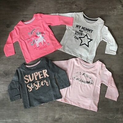 NEW Baby Toddler Girl Slogan Long Sleeve T-Shirt Top Age 0 to 3 Kids