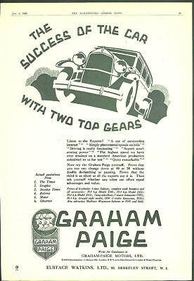 The Success of the Car with Two Top Gears Graham-Paige ad 1929 UK