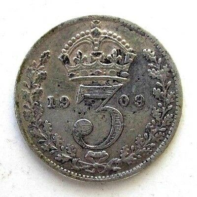 Great Britain Uk Coins, Threepence 1909, Edward Vii, Silver 0.925