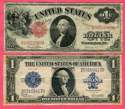 Docs 2 Old $1.00 Large Size Notes Series 1917 & 1923 - Not Bad - Take a Look! NR