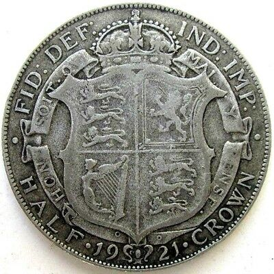 Great Britain Uk Coins, Half Crown 1921, George V, Silver 0.500