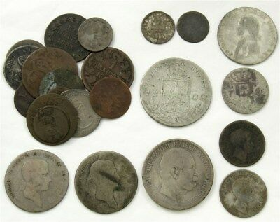 20x 18th 19th Century German States Coins Bavaria Nassau Prussia .84 asw Silver