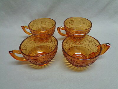Amber Depression Indiana Glass, Daisy Pattern, 4 Cups