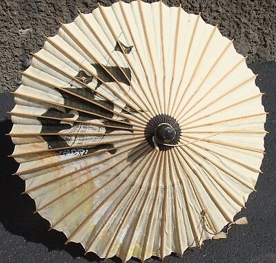 Vintage Authentic JAPANESE PARASOL w/Hand-Painted SHIP, Linen & Bamboo, Moon Bat