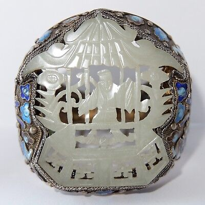 Huge Antique Chinese Silver Filigree Enamel Carved Mutton Fat Jade Bracelet