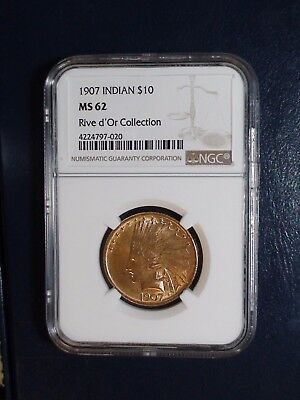 1907 Indian NGC MS62 $10 GOLD Coin Auction Starts At 99 Cents!